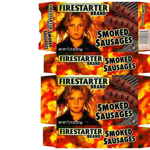 """Packaging for Firestarter Brand Smoke Sausages (""""Late Night"""" - NBC)"""