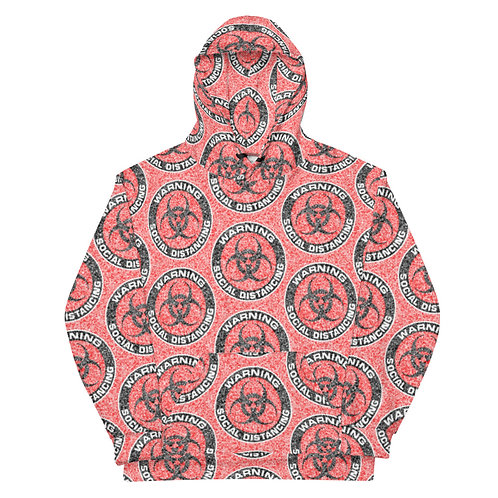 All Over Social Distancing Hoodie Red