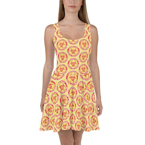 Social Distancing Skater Dress Yellow