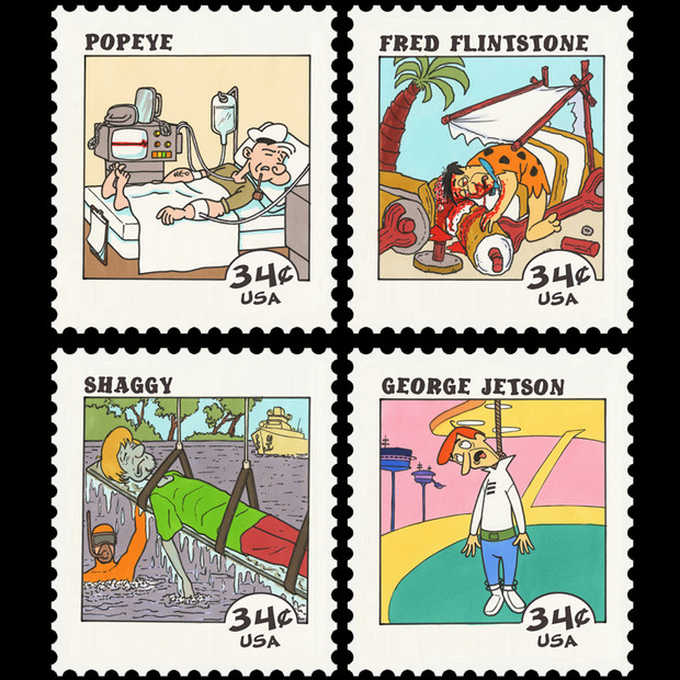 Cartoon Character Suicide Stamps