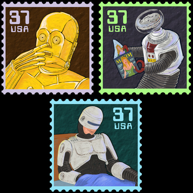 Famous Lonely Robots Stamps