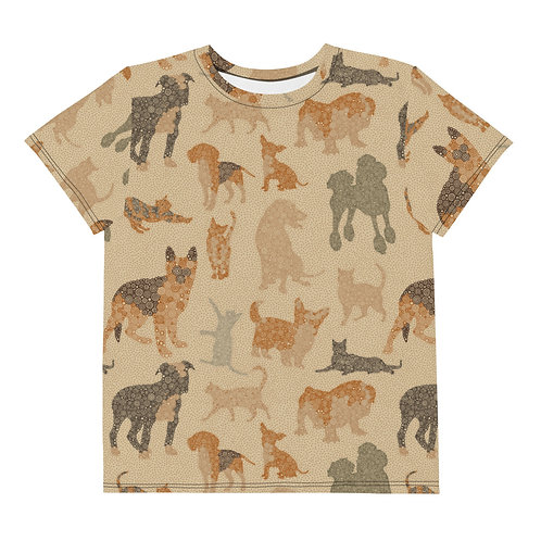 Youth All Over Cats And Dogs T-Shirt
