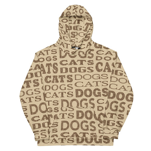 All Over Cats And Dogs Type Hoodie