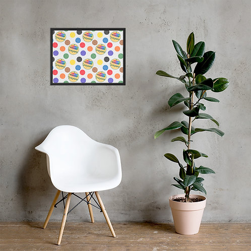 Polka Dots Crayons Framed Poster