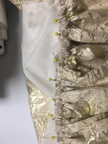 Closeup of skirt gathering