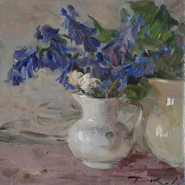 Stilleven met blauwe bloemen . 20 - 20 . Oil op canva. 2019