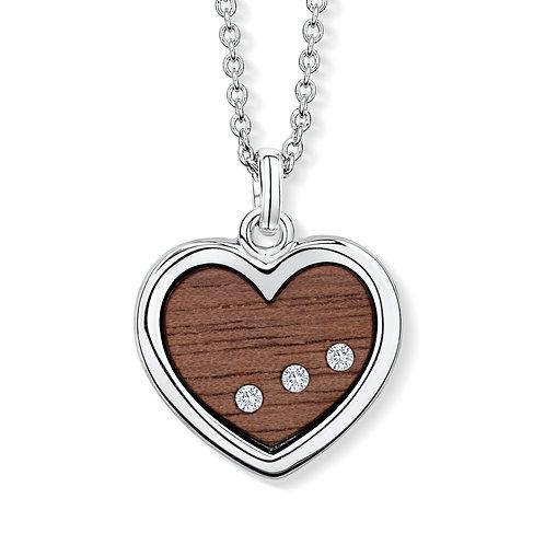 Wood Heart Line Halskette mit Kristallen von Swarovski®