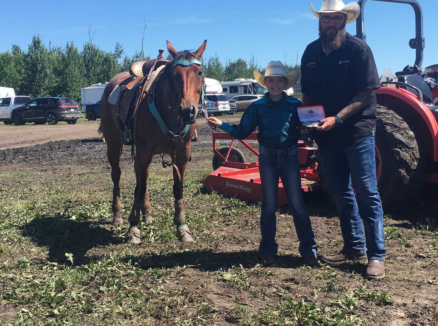 Peewee Barrel racing buckle presentation with Edmonton Kubota