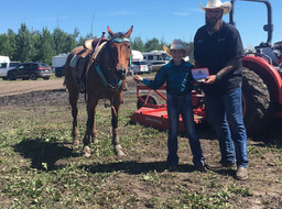Peewee Barrel racing buckle presentation with Edmonton Kubota