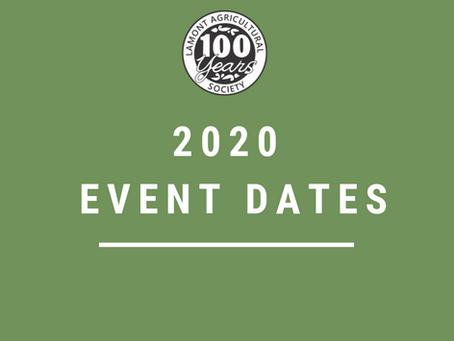 2020 event dates announced!