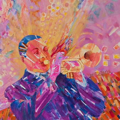 Jazz Wynton Marsalis - 12x12 - Mixed Media on Wood