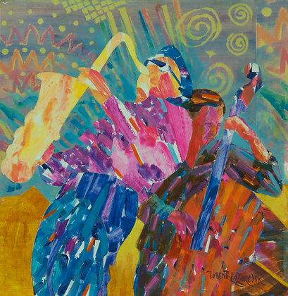Jazz Ravi Coltrane - 12x12 - Mixed Media on Wood