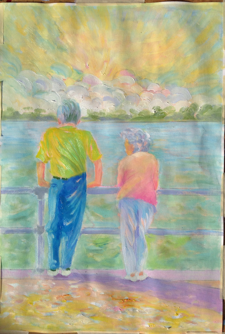 older couple at sea shore