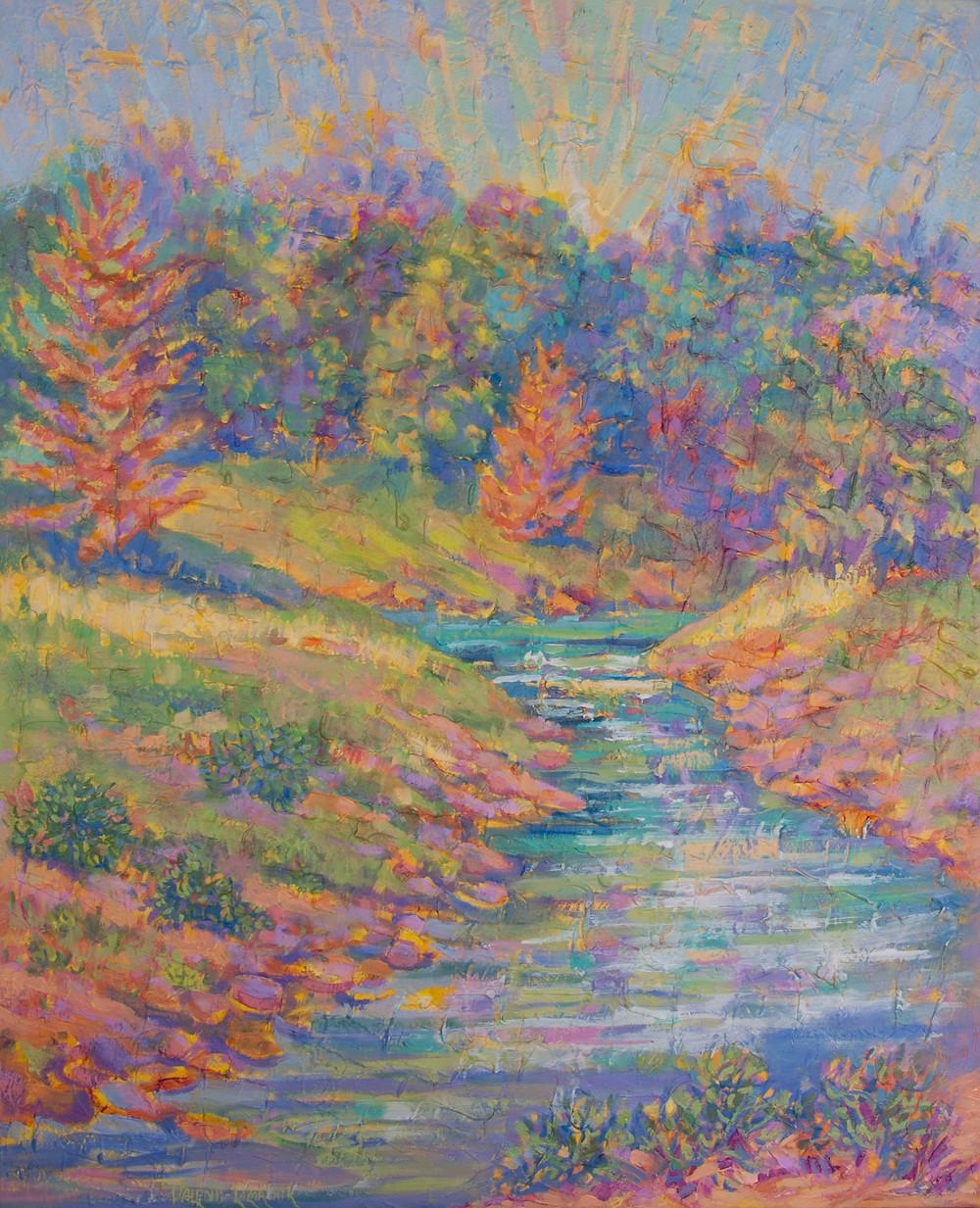 sunlit landscape painting