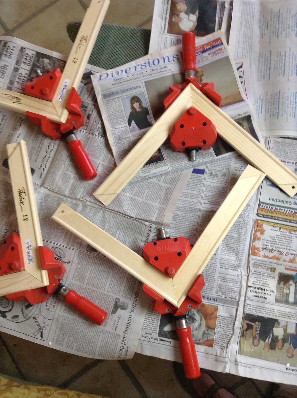 glue & clamp wooden stretcher bars