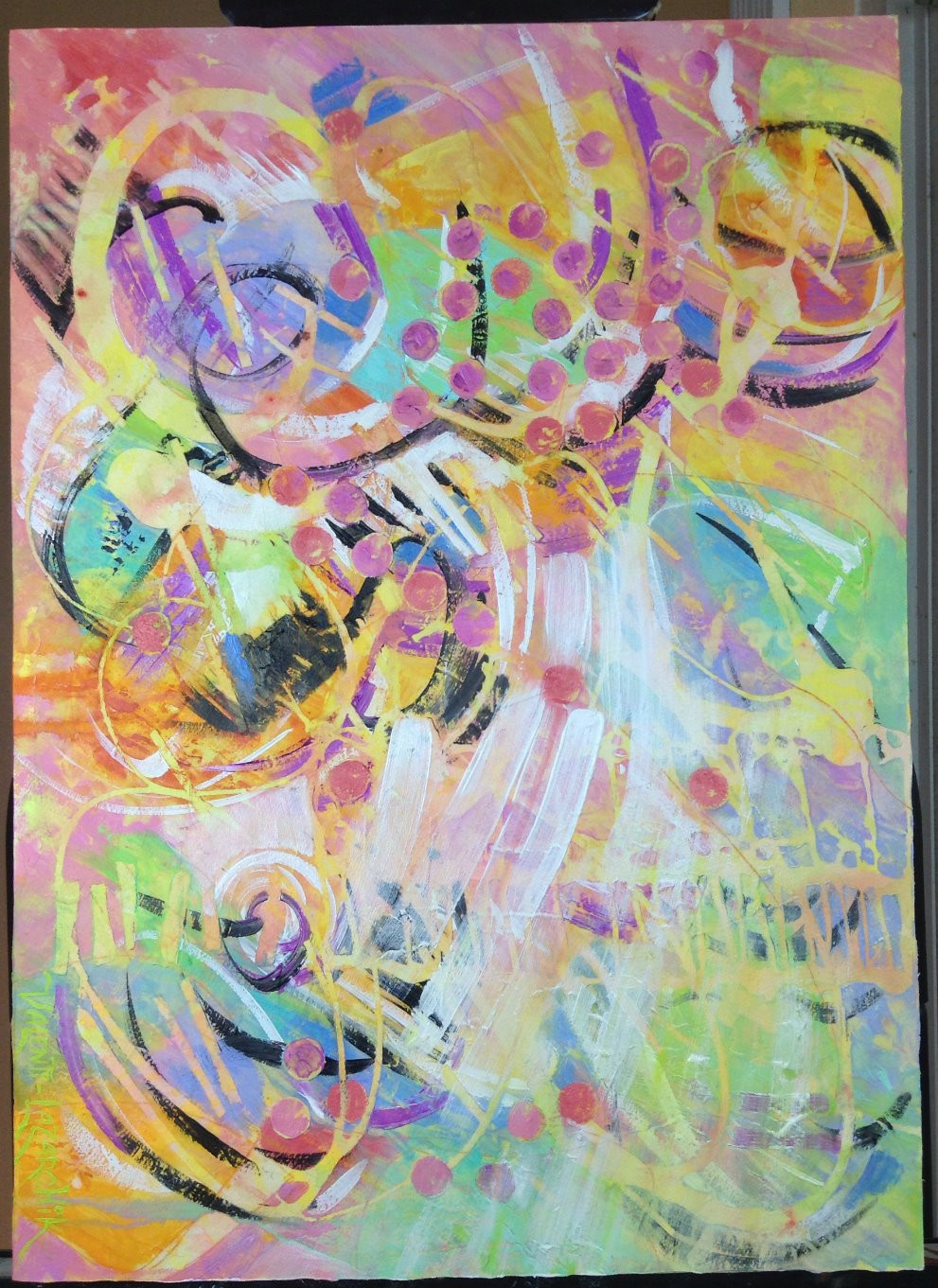 pink and yellow abstract