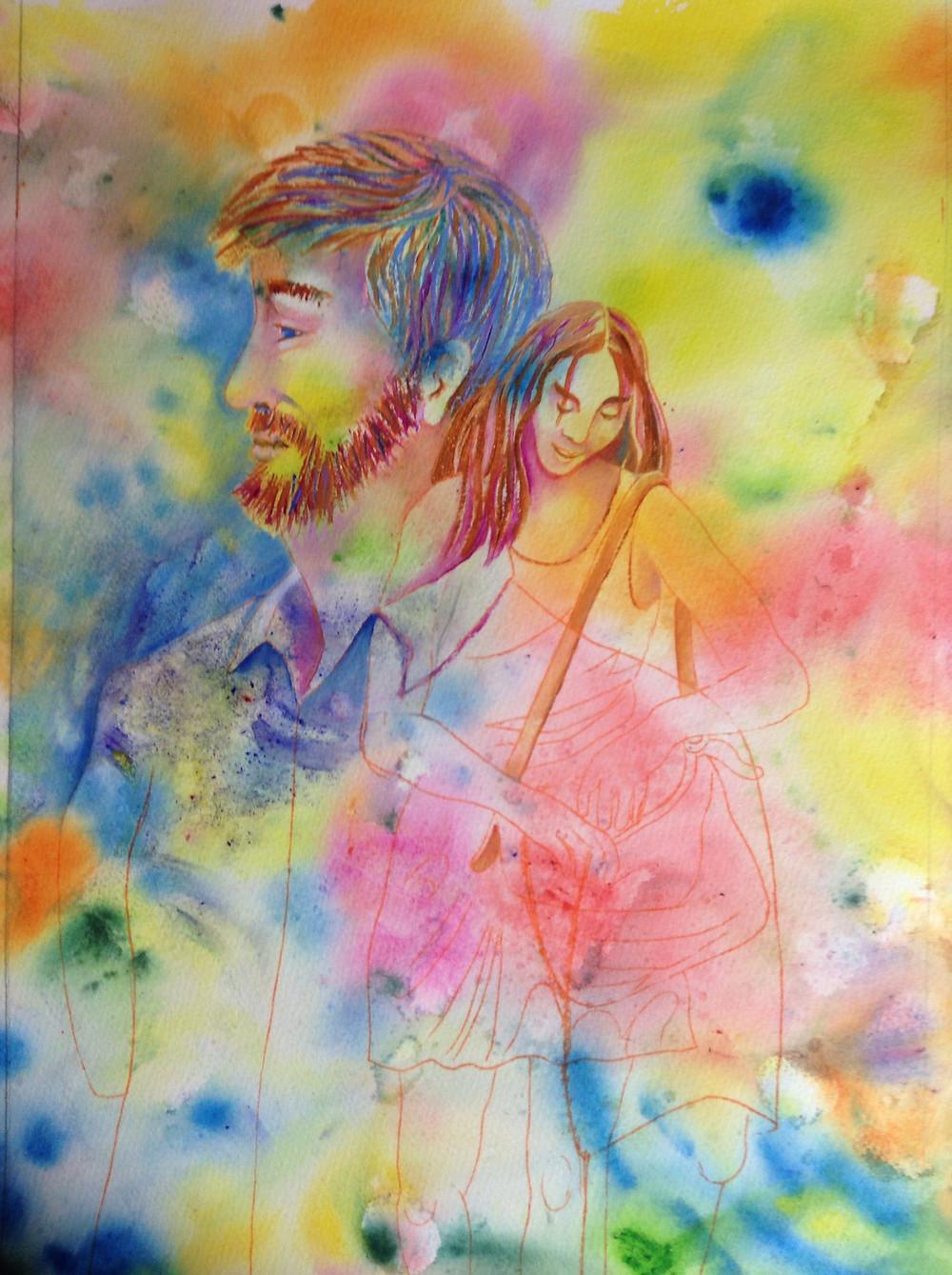 watercolor portrait of couple