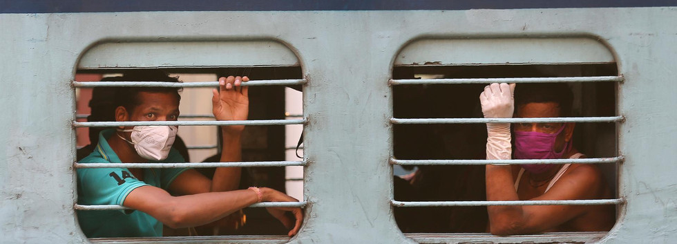 Indian migrant workers onboard a train in Hyderabad, India as they return to their villages, May 23. Mahesh Kumar A/ AP