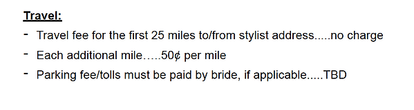 travel costs for hair and makeup