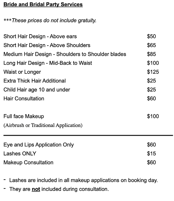 Hair Pricing and Makeup Pricing