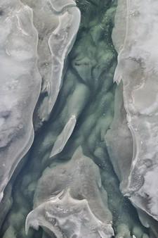 Gardiner river frozen streambed