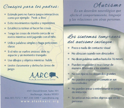 autism signs business card, Spanish.