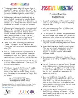 Positive Parenting tips flyer.