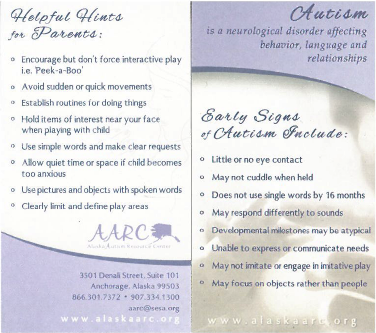 autism signs business card.