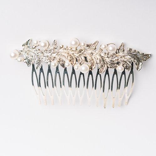 (siberfarbener) Haarkamm mit Perlen