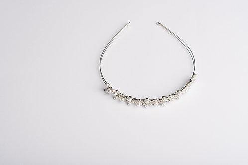 Haarreifen mit Strasssteinen und Perlen