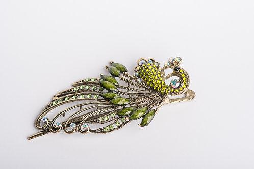 Haarspange Pfau grün