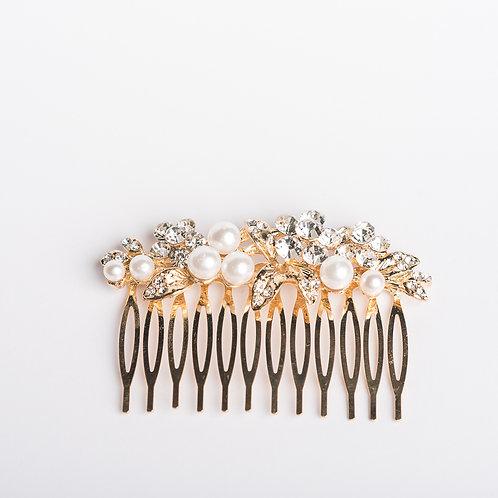 (goldenfarbener) Haarkamm mit Perlen