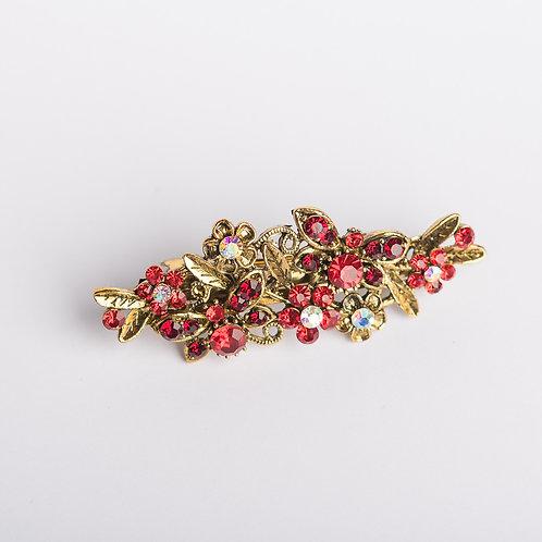 Haarspange mit Strasssteinen gold/rot