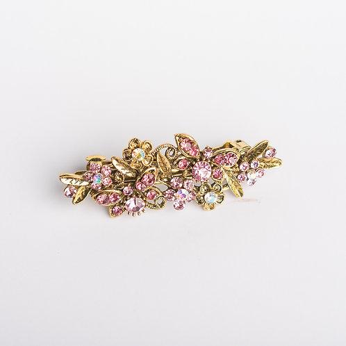 Haarspange mit Strasssteinen gold/rosa
