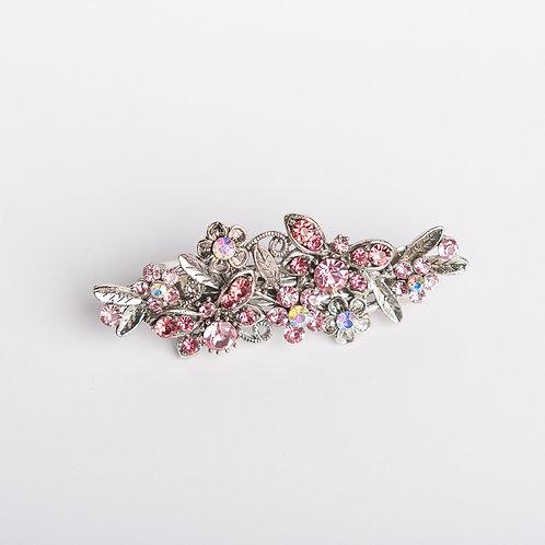Haarspange mit Strasssteinen silber/rosa