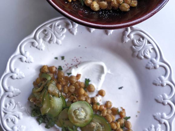 Crisped Chickpeas, Zucchini, Herbs and Garlic Yogurt