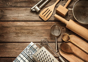 Rural kitchen utensils on vintage planke