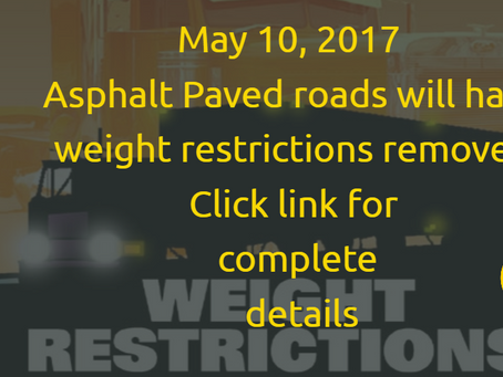 2017 Spring Weight Restrictions on Paved Roads will be Lifted