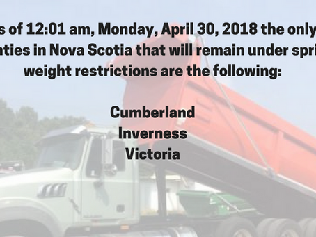 Province of Nova Scotia Spring Weight Restrictions Partially Lifted Effective April 23 2018