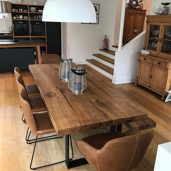 Massivholztisch Esstisch Metallgestell schwarz Holztisch Tisch | Holzwerk-Hamburg