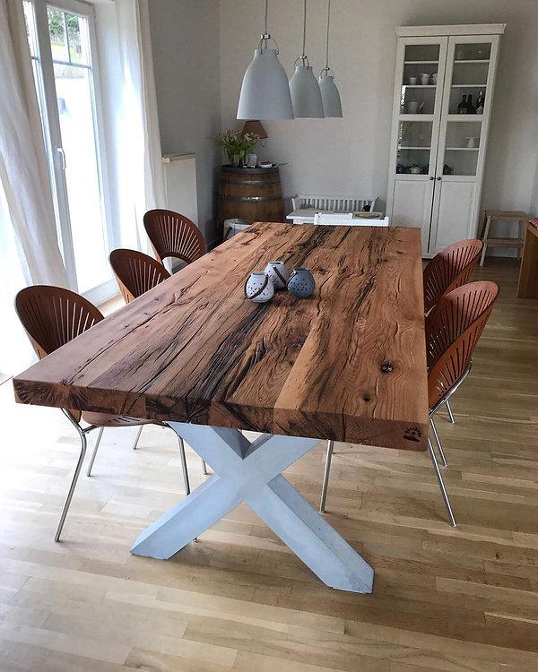 Esstisch aus Eichenholz-Altholz