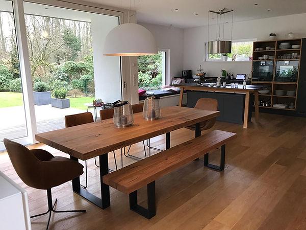 Esstisch Massivholztisch Tisch Holz Metallgestell auf Maß | Holzwerk-Hamburg