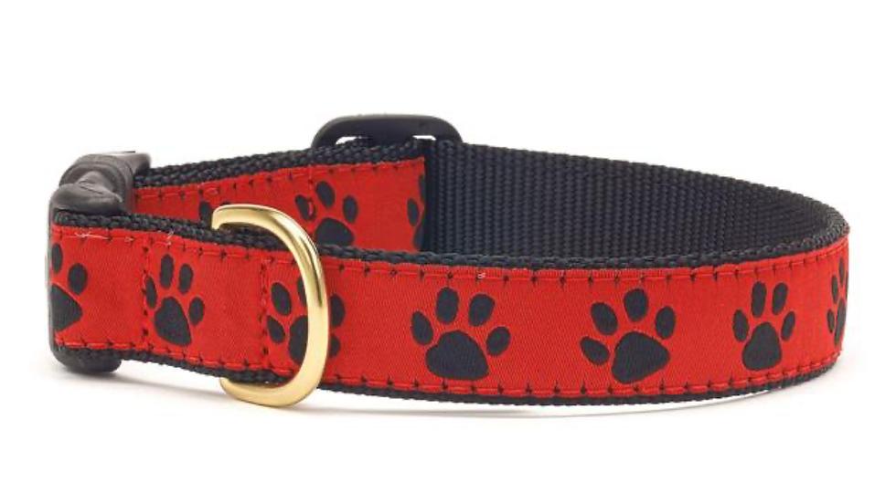 Red Black Paw Dog Collar