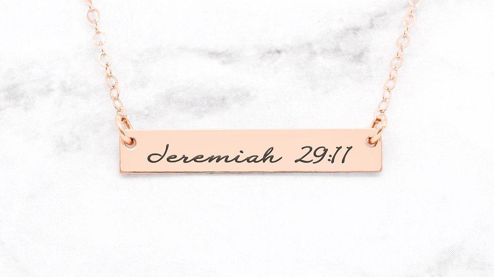 Jeremiah 29:11 Necklace - Rose Gold Bar Necklace