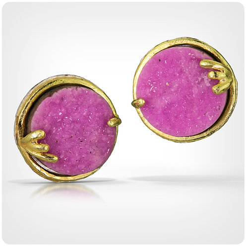 Pink Druzy Earrings