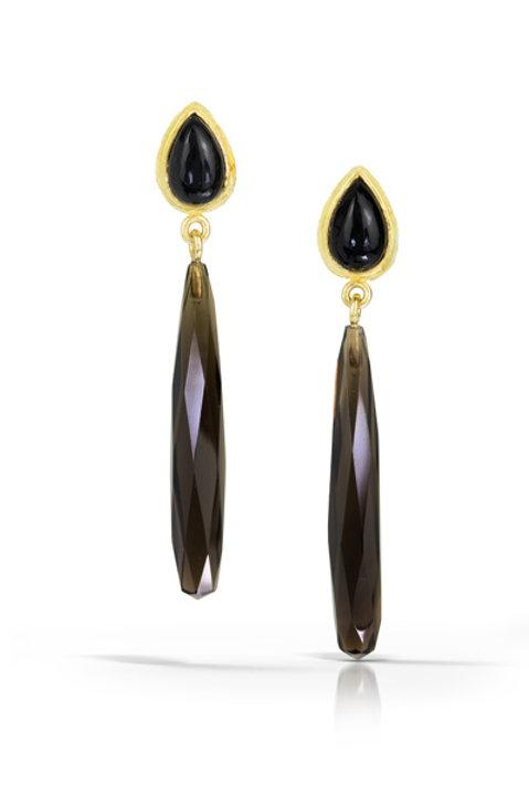Mia Earrings: Onyx and Smoky Topaz