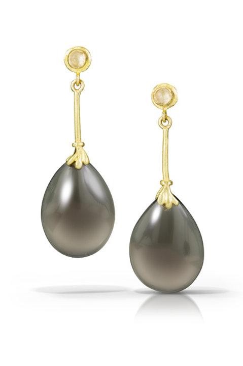 Joelle Earring: Moonstone and Smoky Quartz