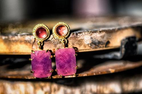 Ella Earrings: Pink Sapphire