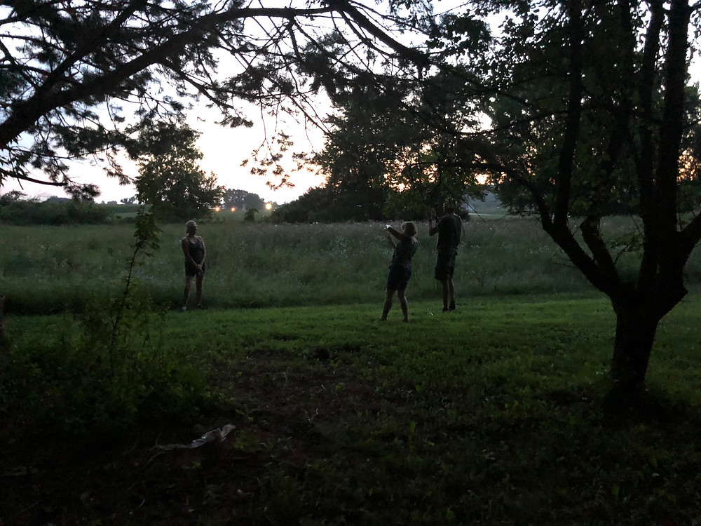A few people were trying to capture the magical moment that the fireflies were out lighting up the fields