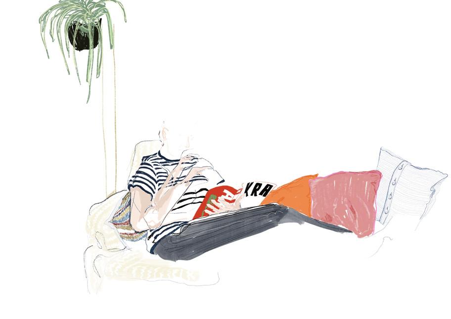 sketch of joe on sofa
